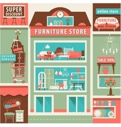 on line Furniture and Home Interior Store Set vector image