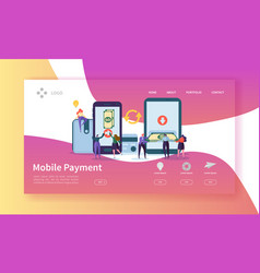 Online banking landing page mobile payment banner vector