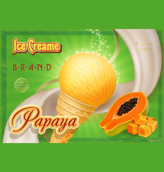 papaya ice cream advertising design vector image