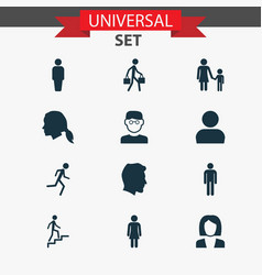 people icons set collection of gentleman ladder vector image