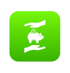 piggy bank and hands icon digital green vector image