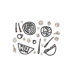 poke bowl concept design vector image