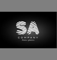 sa s a letter alphabet logo black white icon vector image