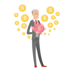 senior caucasian businessman holding a piggy bank vector image