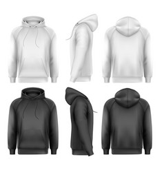 Set black and white male hoodies with sample vector