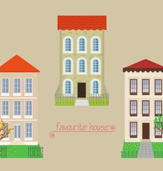 Set from three houses vector