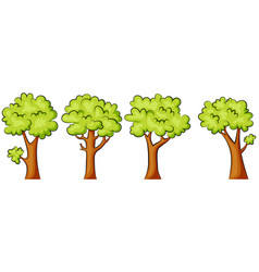 set of green trees on a white background vector image
