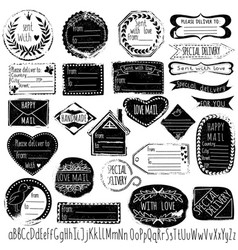 Set of handmade stamps for mail postage delivery vector image