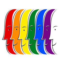 Smiling faces lgbt movement rainbow flag vector
