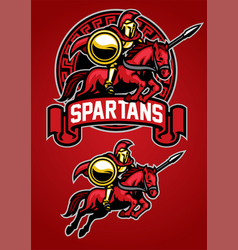 Spartan warrior riding horse mascot vector