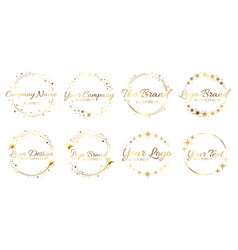 stardust golden logo set shiny circle frames with vector image