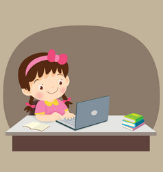 Students girl sitting with laptop vector
