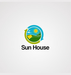 sun house logo icon element and template for vector image