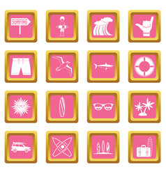surfing icons pink vector image