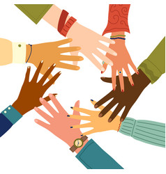 Teamwork concept friends with stack hands vector