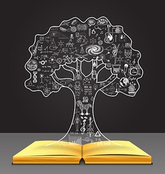 tree concept on the book vector image