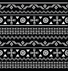 Tribal black and white seamless repeat pattern vector