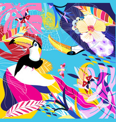 Tropical background with leaf and toucans vector