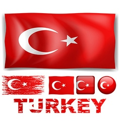 Turkey flag in different designs vector image