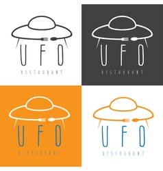 ufo spaceship with fork and spoon concept vector image
