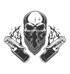 Vintage monochrome gangster skull vector