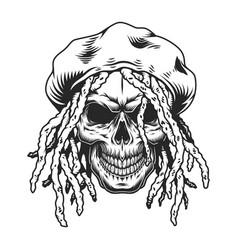 vintage rastaman skull concept vector image