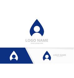 water drop and man logo combination unique vector image