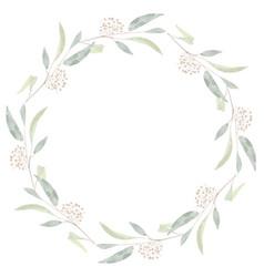 watercolor seeded eucalyptus leaf branch wreath vector image