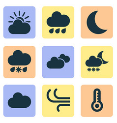 Weather icons set collection of weather breeze vector