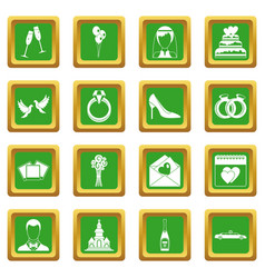 Wedding icons set green vector