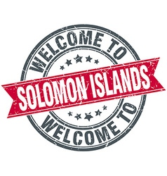 Welcome to Solomon Islands red round vintage stamp vector