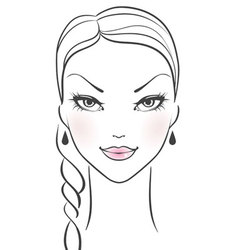 womans front face vector image