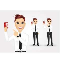 businessman pointing to business card vector image vector image