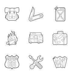 Camp icons set outline style vector image