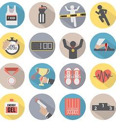 Flat Design Run Icon Set vector image