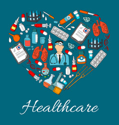 healthcare heart medicine symbol vector image vector image