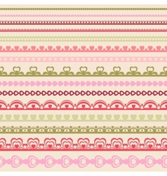 Set of hand drawn lace paper punch borders vector image vector image