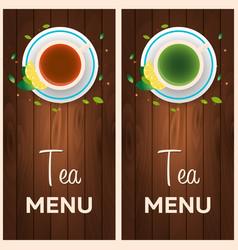 tea menu cup of tea with lemon wooden background vector image