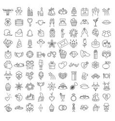 valentines day icon set romantic design elements vector image