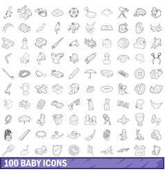 100 baby icons set outline style vector image vector image