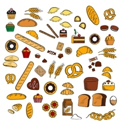 Bakery pastry confectionery products sketches vector image vector image