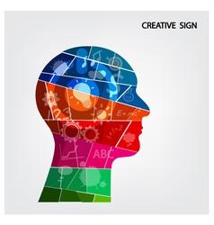 Creative silhouette head background design vector image