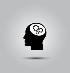gear in head icon vector image vector image