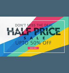 half price sale banner template creative design vector image vector image