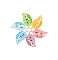 Logo plane flying plant ecology leaf vector