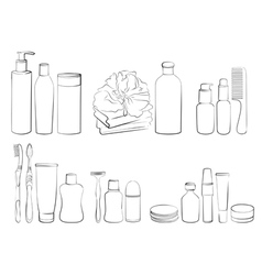 Outline of body care and hygiene set vector image