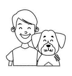 boy with cute dog vector image
