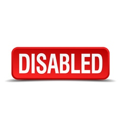 Disabled red 3d square button isolated on white vector image vector image