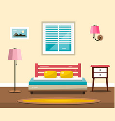 room with bed flat design interior vector image vector image