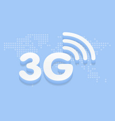 3g fast internet 3d sign in blue background and vector image